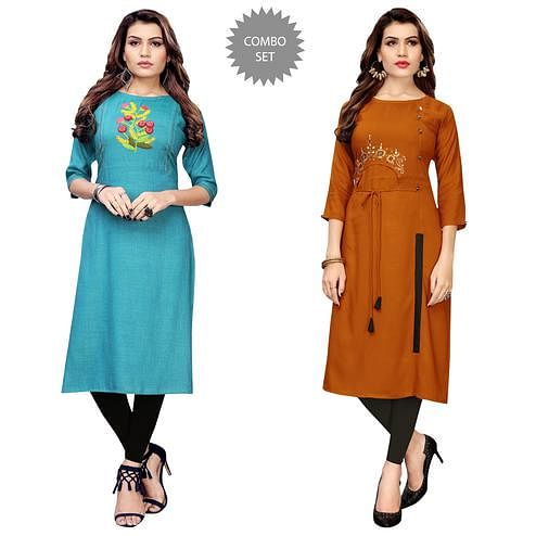 Beautiful Partywear Embroidered Rayon Kurti - Pack of 2