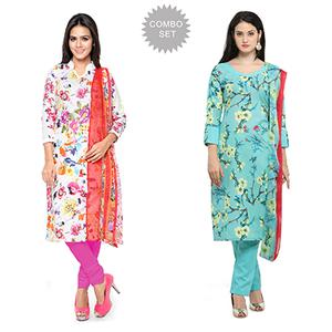 Marvellous Printed Casual Wear Cotton Dress Materials - Pack of 2