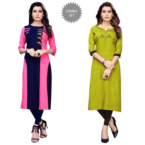 Graceful Partywear Embroidered Rayon Kurti - Pack of 2