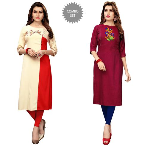 Blooming Partywear Embroidered Rayon Kurti - Pack of 2