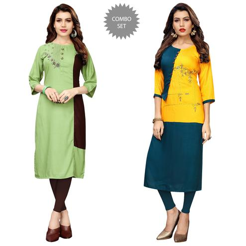 Charming Partywear Embroidered Rayon Kurti - Pack of 2