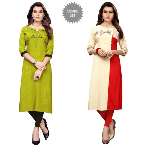 Jazzy Partywear Embroidered Rayon Kurti - Pack of 2