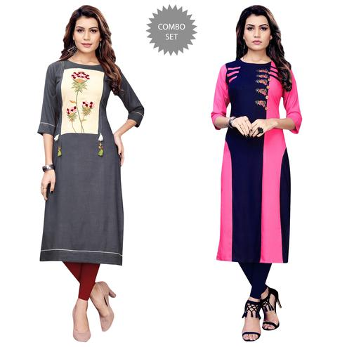 Delightful Partywear Embroidered Rayon Kurti - Pack of 2