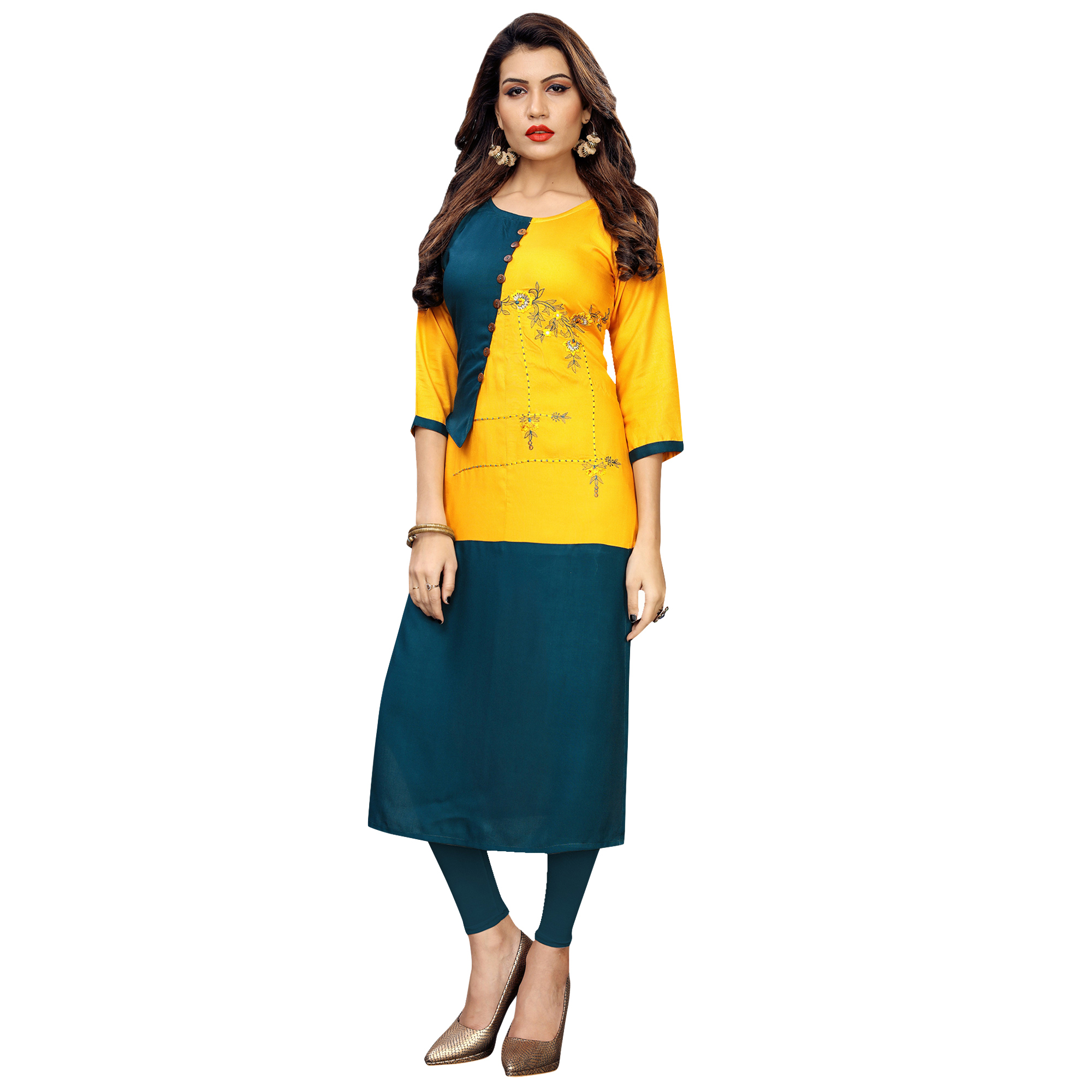 Engrossing Partywear Embroidered Rayon Kurti - Pack of 2