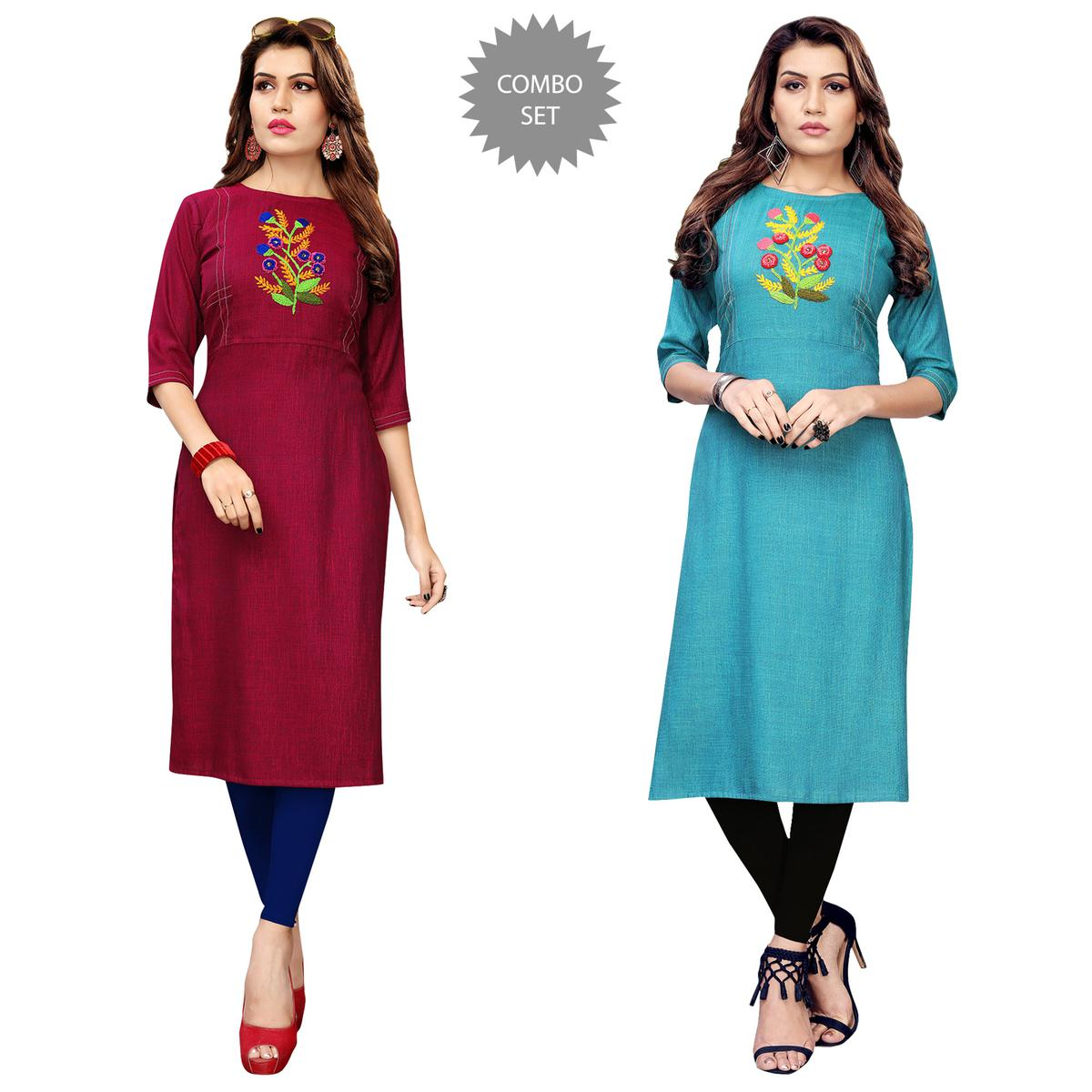 Captivating Partywear Embroidered Rayon Kurti - Pack of 2