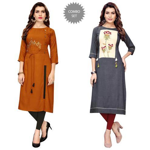 Fantastic Partywear Embroidered Rayon Kurti - Pack of 2