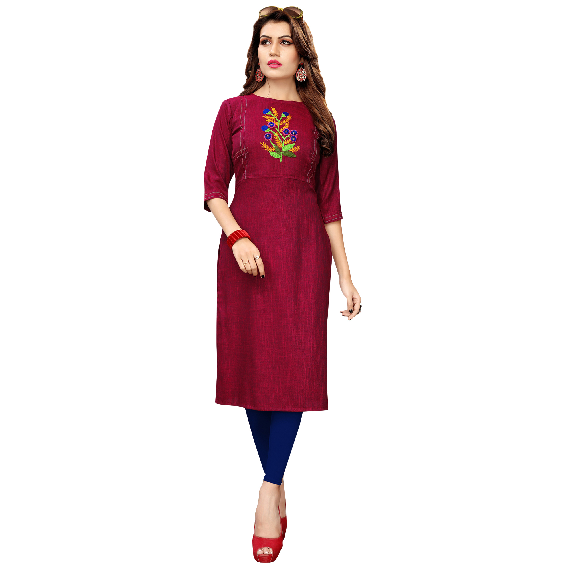 Blissful Partywear Embroidered Rayon Kurti - Pack of 3