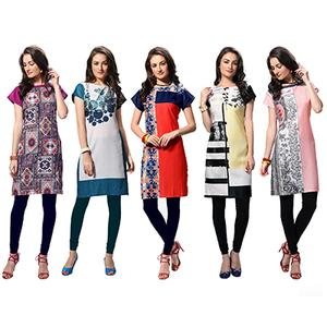 Pack of 5 Regular Wear Printed Stitched Kurti