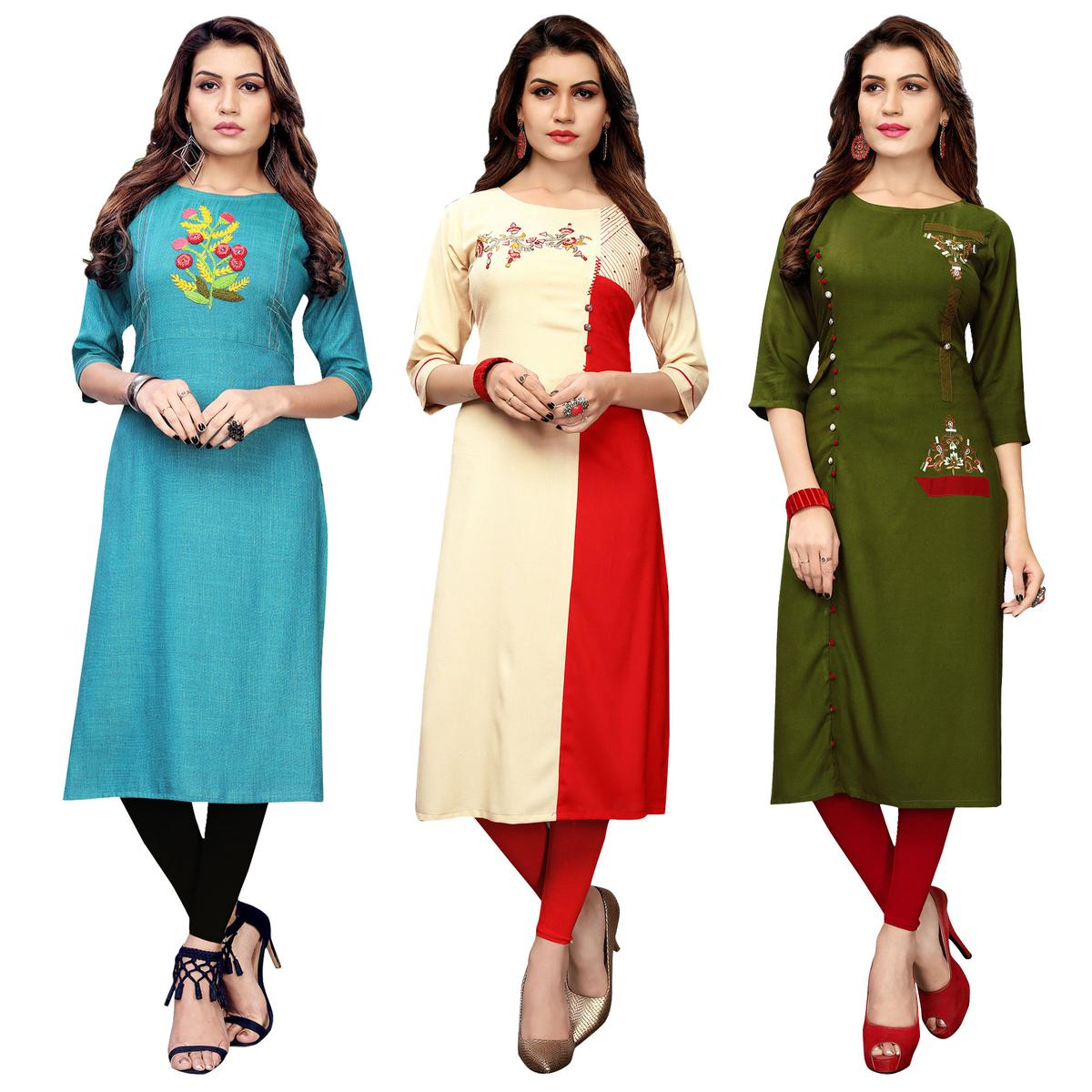 Ideal Partywear Embroidered Rayon Kurti - Pack of 3