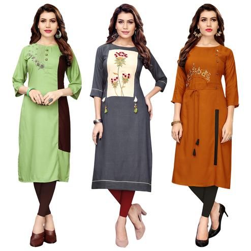 Imposing Partywear Embroidered Rayon Kurti - Pack of 3