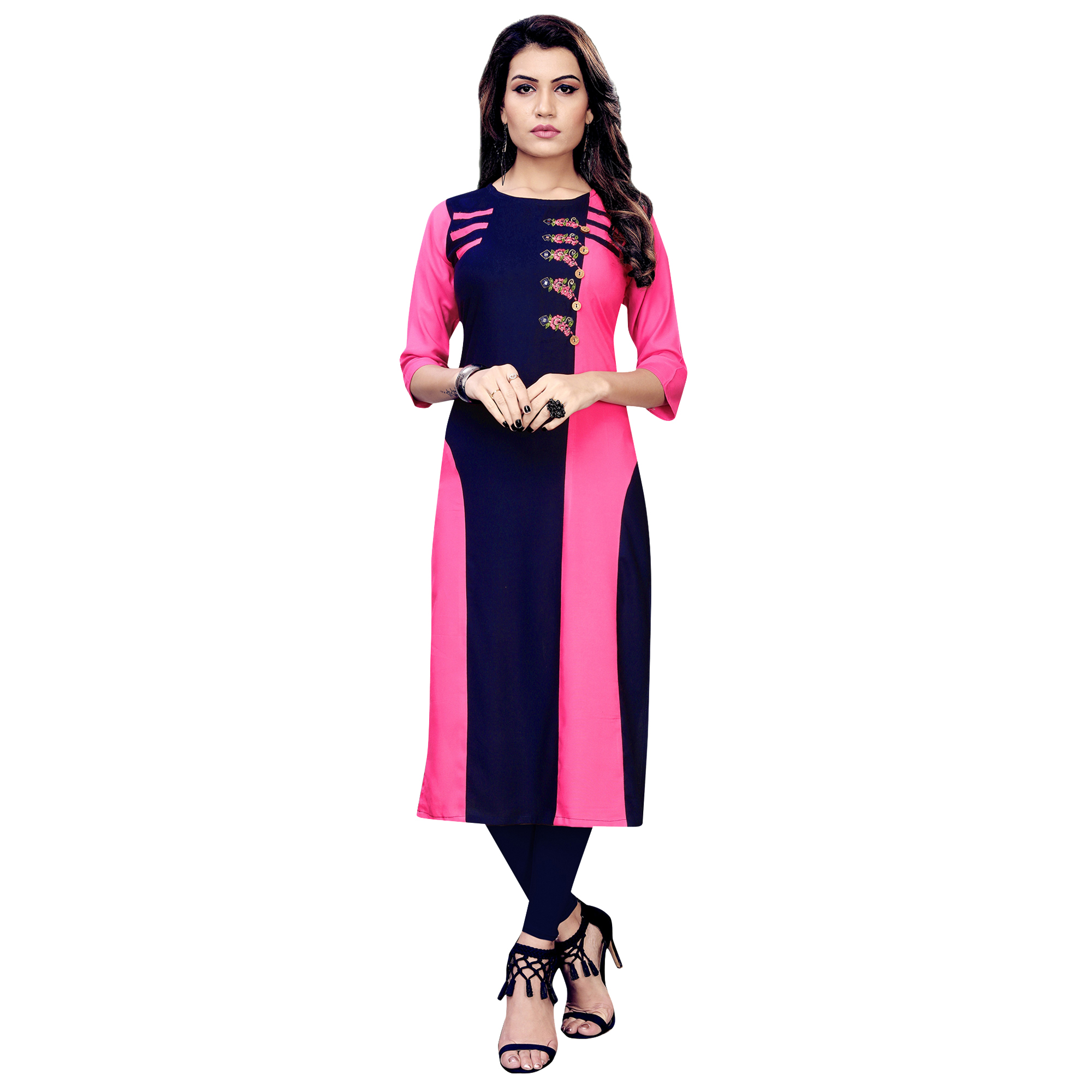 Lovely Partywear Embroidered Rayon Kurti - Pack of 3