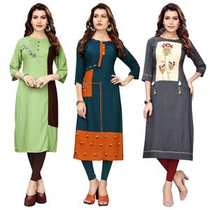 Majesty Partywear Embroidered Rayon Kurti - Pack of 3