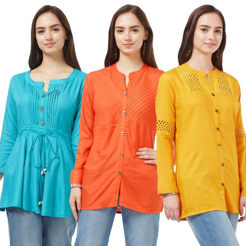 Classy Casual Cotton Short Kurti - Pack of 3