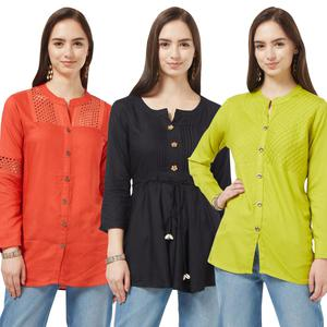 Demanding Casual Cotton Short Kurti - Pack of 3