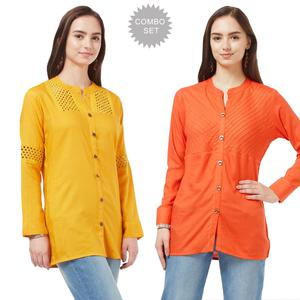 Impressive Casual Cotton Short Kurti - Pack of 2