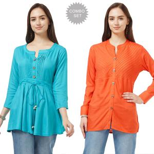 Pleasance Casual Cotton Short Kurti - Pack of 2