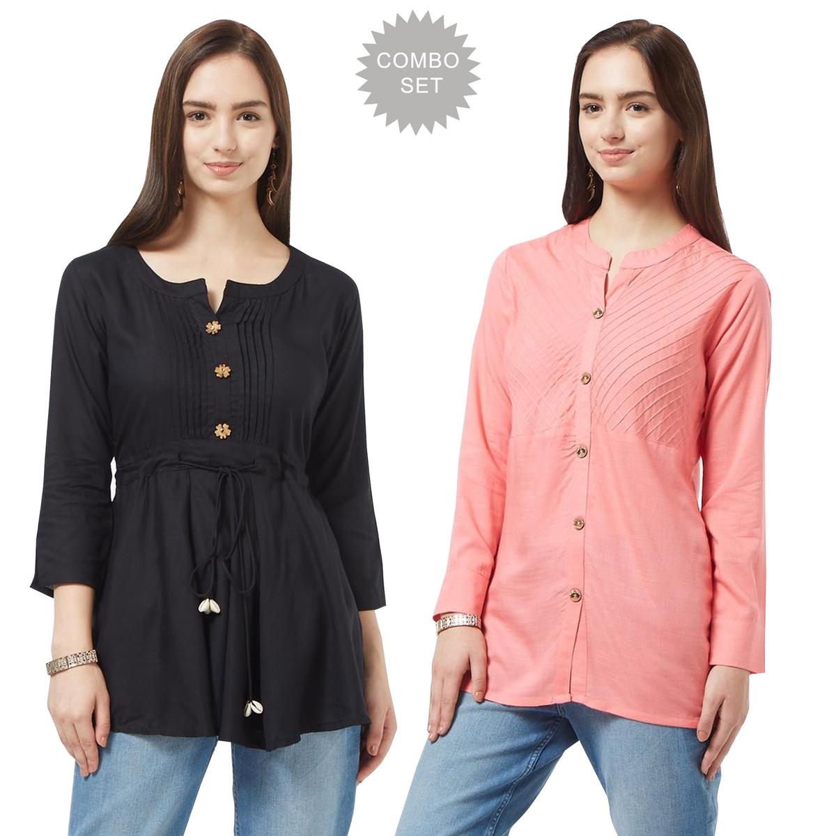 Ethnic Casual Cotton Short Kurti - Pack of 2