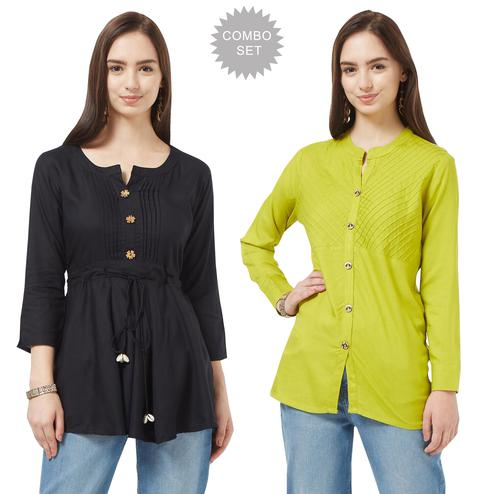 Staring Casual Cotton Short Kurti - Pack of 2