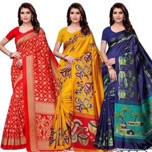Eye-Catching Festive Wear Art Silk Saree - Pack of 3