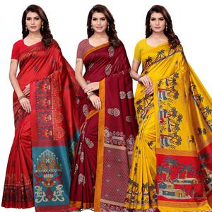 Attractive Festive Wear Art Silk Saree - Pack of 3