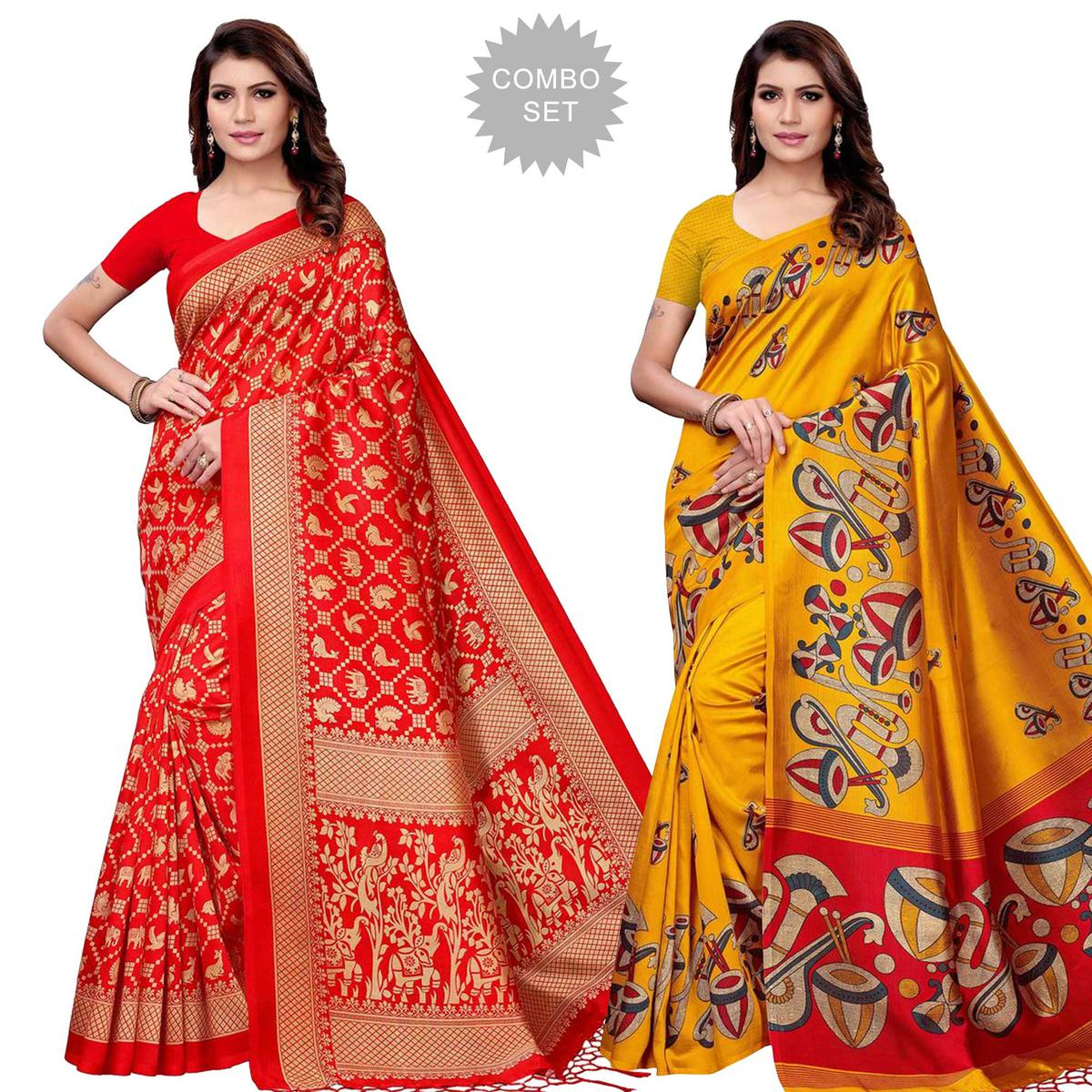 Glorious Festive Wear Art Silk Saree - Pack of 2