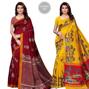 Blooming Festive Wear Art Silk Saree - Pack of 2