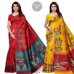Jazzy Festive Wear Art Silk Saree - Pack of 2