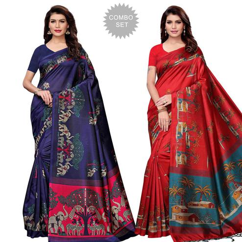 Fantastic Festive Wear Art Silk Saree - Pack of 2