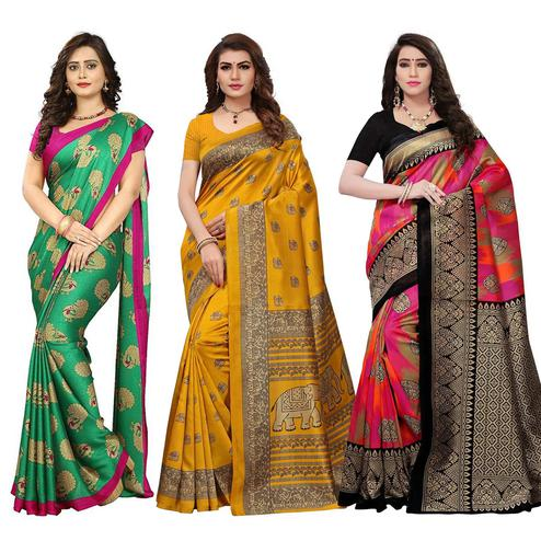 Beautiful Festive Wear Art Silk Saree - Pack of 3