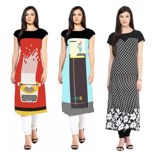 Demanding Colored Casual Printed Crepe Kurti - Pack of 3