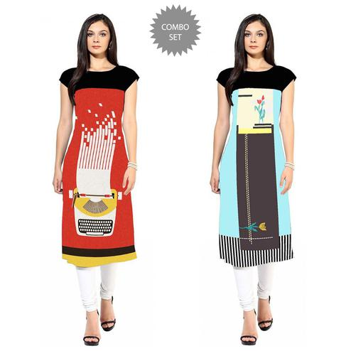 Classy Colored Casual Printed Crepe Kurti - Pack of 2
