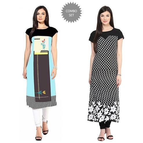 Mesmeric Colored Casual Printed Crepe Kurti - Pack of 2
