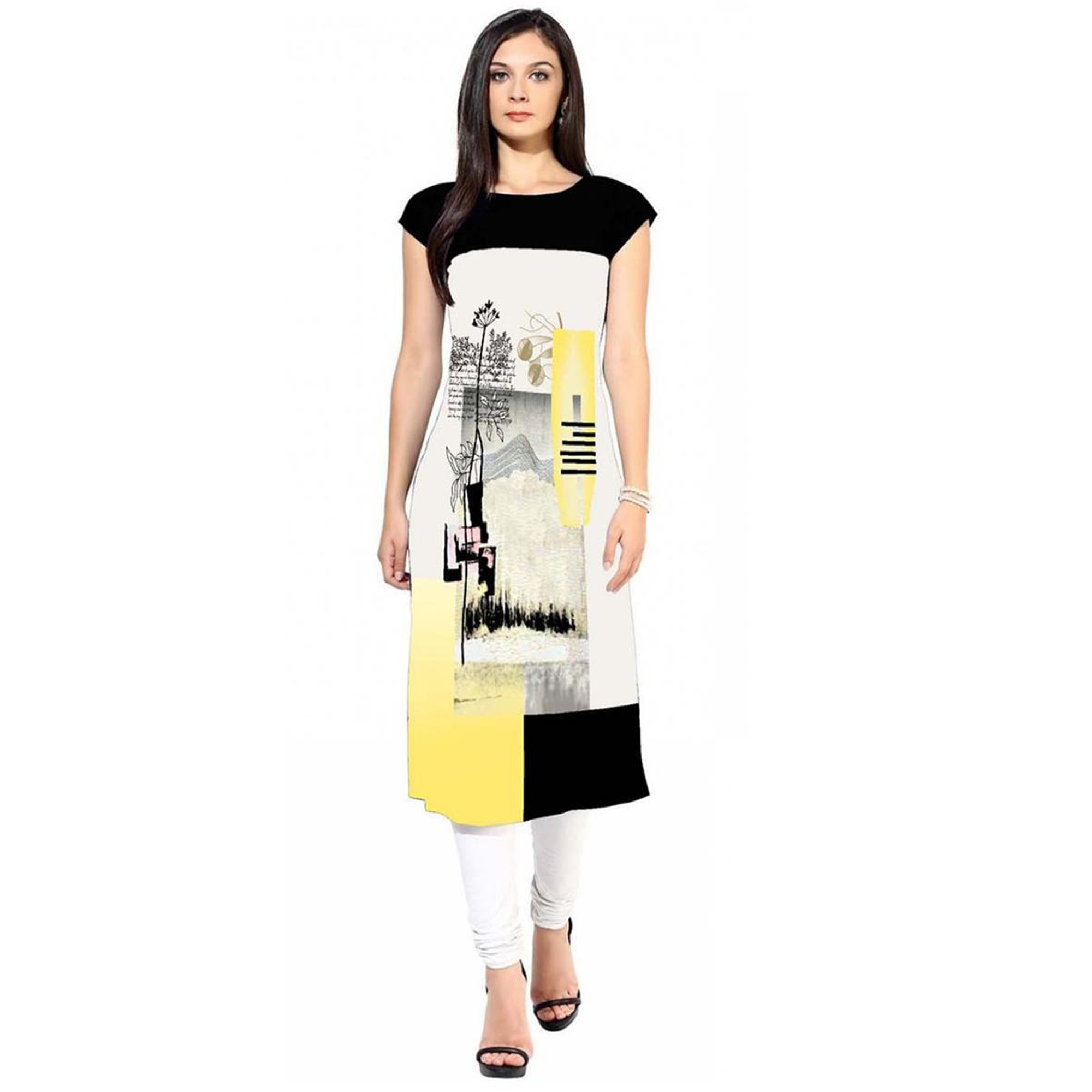 Charming Colored Casual Printed Crepe Kurti - Pack of 3