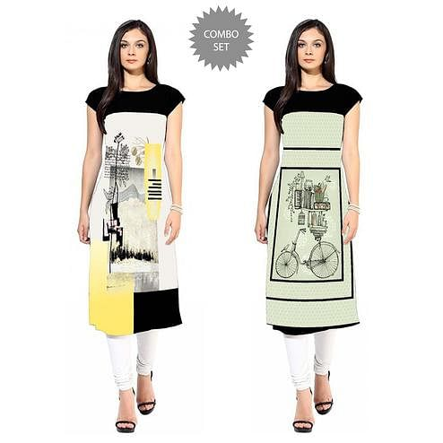 Jazzy Colored Casual Printed Crepe Kurti - Pack of 2