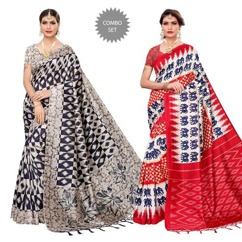 Marvellous Festive Wear Art Silk Saree - Pack of 2