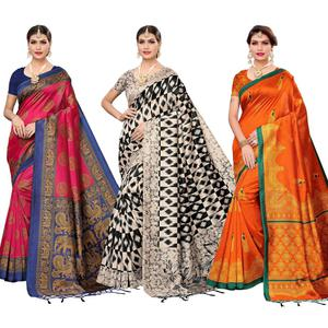 Majesty Festive Wear Art Silk Saree - Pack of 3