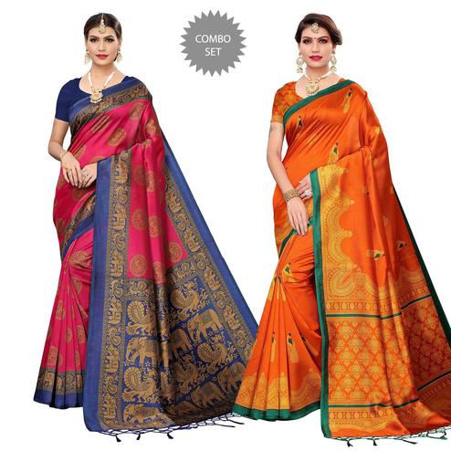 Impressive Festive Wear Art Silk Saree - Pack of 2