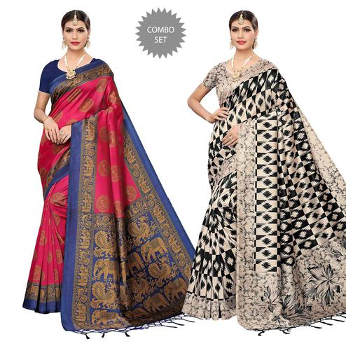 Mesmerising Festive Wear Art Silk Saree - Pack of 2