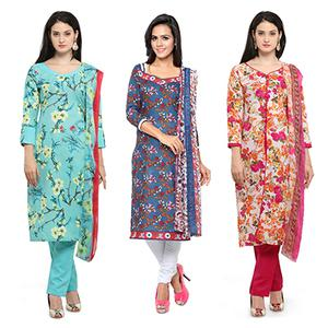 Stylish Printed Casual Wear Cotton Dress Materials - Pack of 3