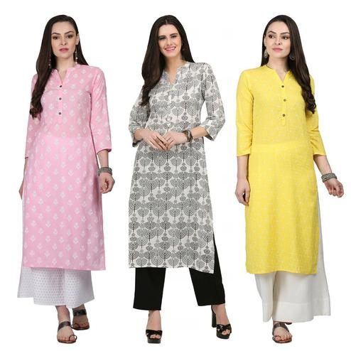 Beautiful Casual Printed Cotton Kurti - Pack of 3
