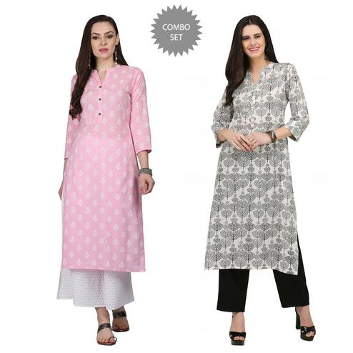 Graceful Casual Printed Cotton Kurti - Pack of 2