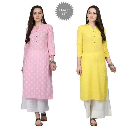 Blooming Casual Printed Cotton Kurti - Pack of 2