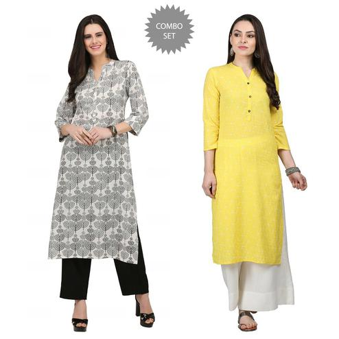 Charming Casual Printed Cotton Kurti - Pack of 2