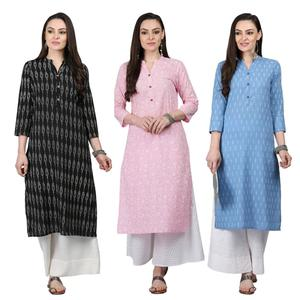 Jazzy Casual Printed Cotton Kurti - Pack of 3