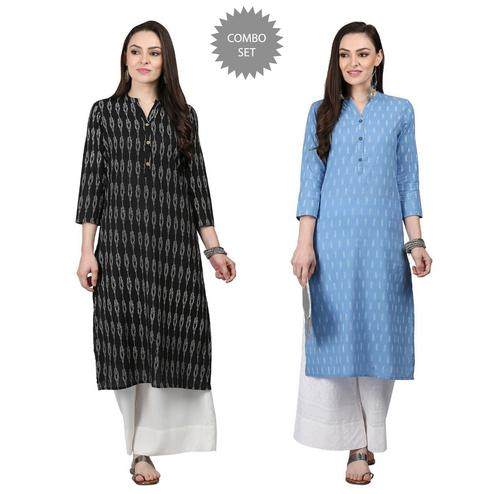 Engrossing Casual Printed Cotton Kurti - Pack of 2