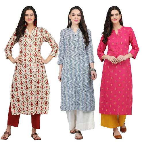 Energetic Casual Printed Cotton Kurti - Pack of 3