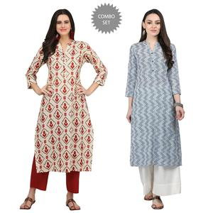 Glowing Casual Printed Cotton Kurti - Pack of 2