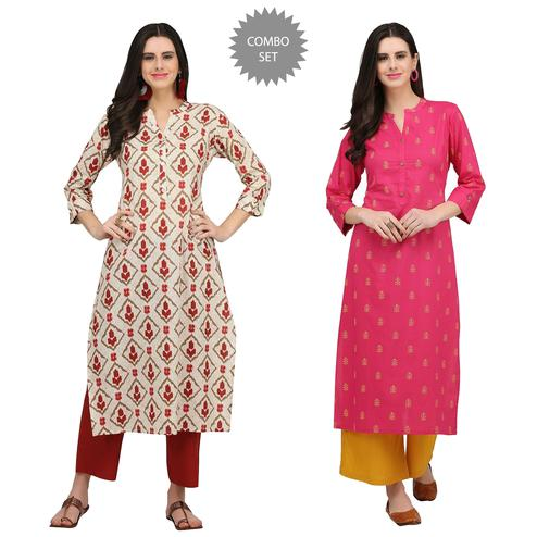 Exceptional Casual Printed Cotton Kurti - Pack of 2