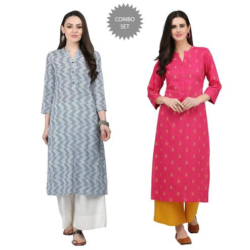 Gleaming Casual Printed Cotton Kurti - Pack of 2