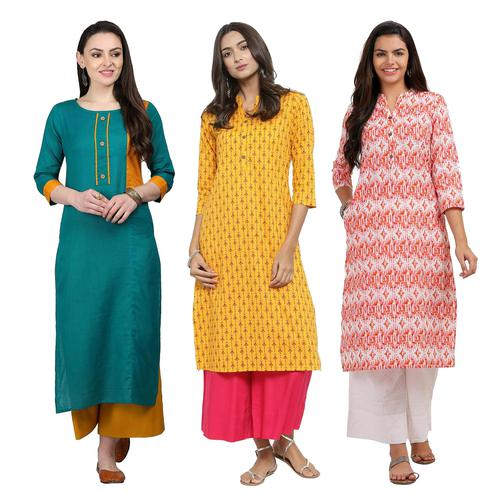 Mesmeric Casual Printed Cotton Kurti - Pack of 3